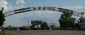 "Ogden, Utah - ""Ogden"" sign over Washington Boulevard at the Ogden River; toward downtown"