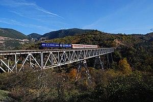 Railways of Greece - Brallos (or Papadia) bridge, rebuilt in 1945