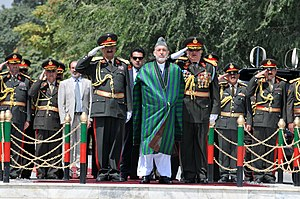 Ethnic groups in Afghanistan - Afghan President Hamid Karzai at the 2011 Afghan Independence Day in Kabul.