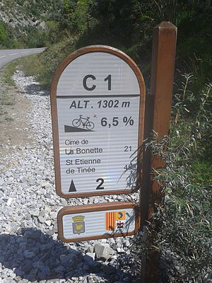 Col de la Bonette - One of the mountain pass cycling milestones along the climb from Jausiers