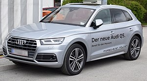 Audi Q5 - Image: 2017 Audi Q5 (FY) front (silver) 1 (cropped)