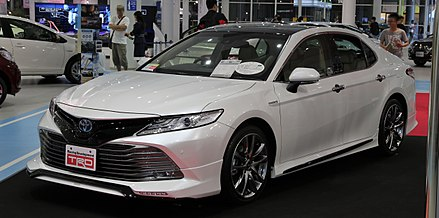 A plug-in hybrid car manufactured by Toyota, one of the world's largest carmakers - Japan is the third-largest maker of automobiles in the world. 2017 Toyota Camry TRD.jpg