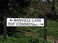 2018-05-05 Street name sign, Top Common (street) and Banville Lane, East Runton.JPG