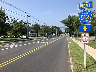 Long Hill Township, New Jersey - County Route 512 westbound in Long Hill Township
