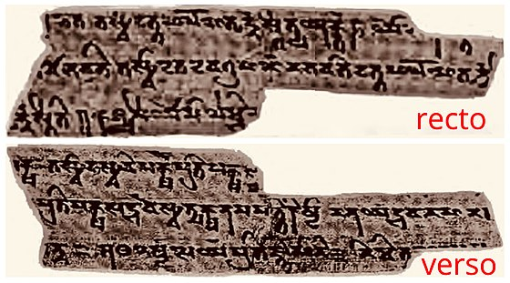 The Spitzer Manuscript is dated to about the 2nd-century CE (above: folio 383 fragment). Discovered near the northern branch of the Central Asian Silk Route in northwest China, it is the oldest Sanskrit philosophical manuscript known so far. 2nd-century CE Sanskrit, Kizil China, Spitzer Manuscript folio 383 fragment recto and verso.jpg