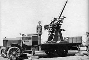 Self-propelled anti-aircraft weapon - A World War 1, British, truck–mounted, QF 3 inch gun
