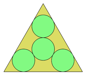 Circle packing in an equilateral triangle - Image: 4 cirkloj en 60 60 60 triangulo