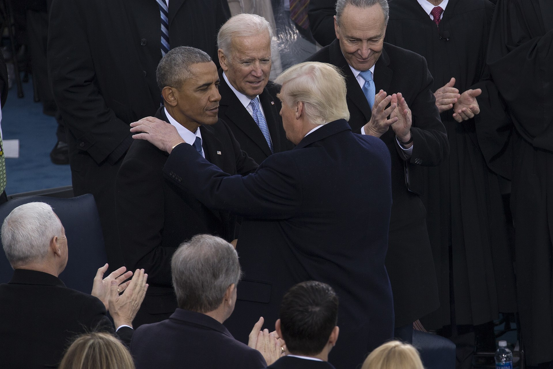 Biden with Barack Obama and Donald Trump, at the latter's inauguration on January 20, 2017