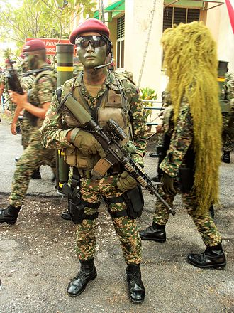10 Paratrooper Brigade (Malaysia) - Soldier from 10 Paratrooper Brigade of Malaysian Army holding his M4A1 Carbine during the 59th Merdeka Day in Kuala Lumpur.