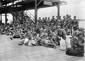 History of the Australian Army - The 10th Reinforcements of the 5th Pioneers at Port Melbourne prior to embarkation, October 1917