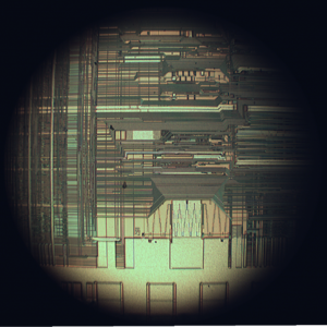 Upper interconnect layers on an Intel 80486DX2 die.