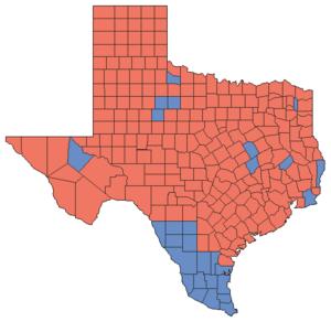 United States Senate election in Texas, 1994 - Image: 94TXSenate Counties