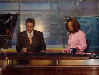 Ron Magers - Magers (left) and Cheryl Burton (right) broadcasting the ABC 7 Chicago's 5 p.m. weekday news, circa 2011.