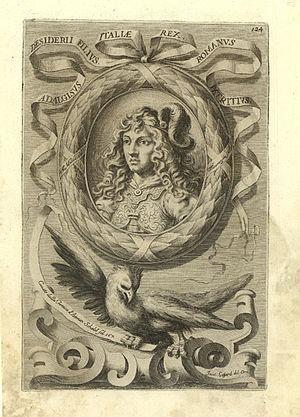 """Adalgis - Emanuele Tesauro's depiction of Adalgisus Desiderii filius, Italiae rex, Romanus patritius (""""Adalgis, son of Desiderius, king of Italy, Roman patrician"""") from his Del Regno d'Italia sotto i barbari (1664)."""