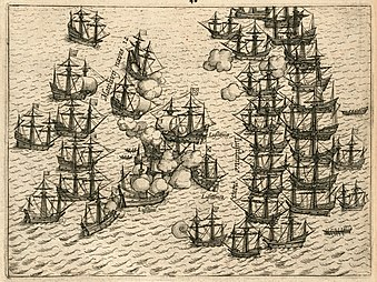 The Dutch fleet battling with the Portuguese armada as part of the Dutch-Portuguese War in 1606 to gain control of Malacca AMH-6472-KB Battle for Malacca between the VOC fleet and the Portuguese, 1606.jpg