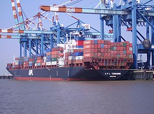"""The container ship """"APL Turquoise"""" o..."""