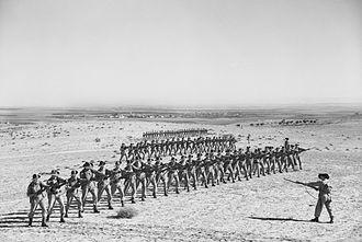 2/27th Battalion (Australia) - Image: AWM 004612 2 27 Bn bayonet practice in Palestine