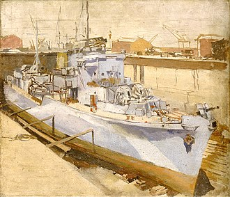 Hunt-class destroyer - A Hunt-class destroyer in dry dock, painting from the Royal Museums Greenwich