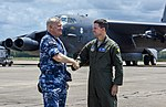 A RAAF officer and an USAF officer pose in front of a B-52 at RAAF Base Darwin in December 2018.jpg