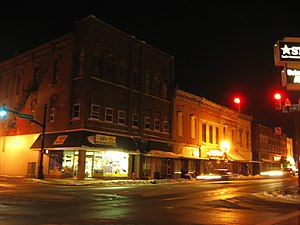 Elwood, Indiana - Elwood Downtown Historic District at night