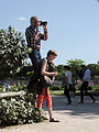 A human tripod, Jardin des Tuileries, Paris 10 May 2015.jpg