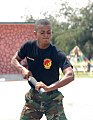 A member of the Ghana Army 2nd Engineer Battalion practices baton techniques during a nonlethal force demonstration June 26, 2013, in Accra, Ghana, as part of exercise Western Accord 2013 130626-A-ZZ999-020.jpg
