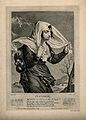 A woman walking in the rain as a figure in the clouds pours Wellcome V0007627EL.jpg