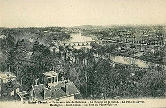 Le Chemin, Paysage à Meudon - Saint-Cloud, Panorama viewed from Bellevue, La Boucle de la Seine, Le Pont de Sèvres, Boulogne, Saint-Cloud, Le Fort du Mont-Valérien