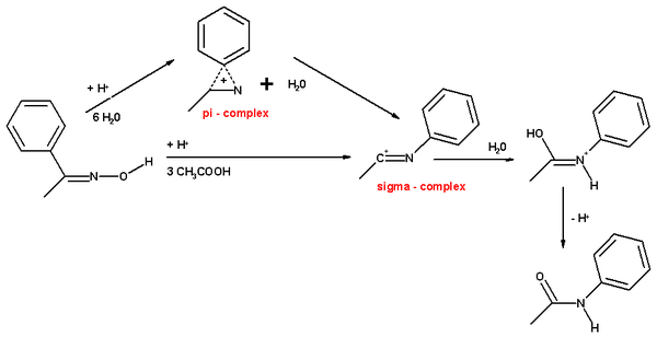 beckmann rearrangement mechanism acetophenone oxime