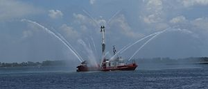 William Lyon Mackenzie (fireboat) - The WLM in action.