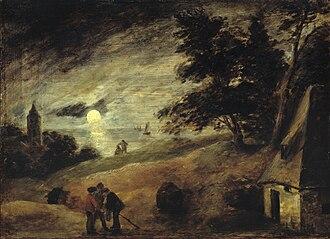 Adriaen Brouwer - Dune landscape by moonlight