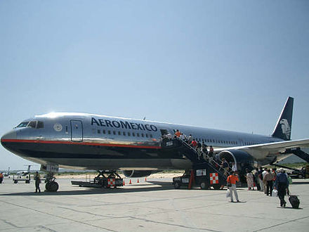 Aeromexico Boeing 767-300 at Terminal 1 Aeromexico Boeing 767-300ER at Los Cabos International Airport.jpg