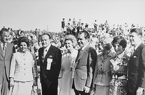 Dolores Hope - From left to right: Spiro and Judy Agnew, Bob and Dolores Hope, Richard and Pat Nixon, Nancy and Ronald Reagan during a campaign stop for the Nixon-Agnew ticket in California, 1971