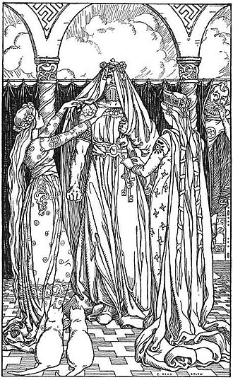 Freyja - While Freyja's cats look on, the god Thor is unhappily dressed as Freyja in Ah, what a lovely maid it is! (1902) by Elmer Boyd Smith