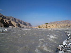 Ak-Suu River (Syr Darya) - The Ak-Suu River near the village of Choyunchu (formerly called Jenish). Leilek District, Kyrgyzstan.