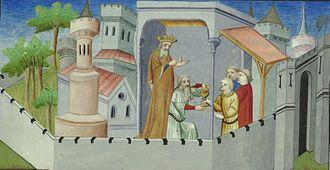 Alamut Castle - The 26th Nizārī Ismā'īlī Imām (who died in 1255) 'Alā' ad-Dīn Muḥammad III bin Jalāl al-Dīn Hasan in The Travels of Marco Polo by Marco Polo (who was born on September 15, 1254). (Bibliothèque nationale de France)