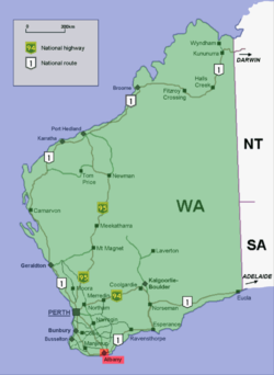 Albany location map in Western Australia.PNG