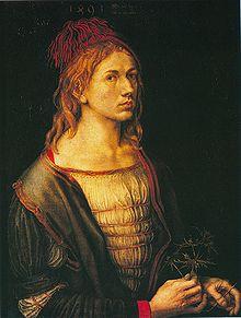 Albrecht Dürer, Autoritratto con fiore d'eringio (1493)