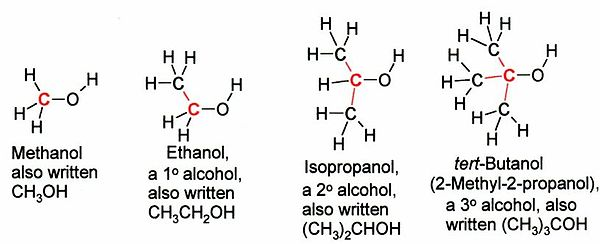 در تصویر از سمت چپ به راست متانول، یک نمونه الکل نوع اول، دوم و سوم دیده میشود.