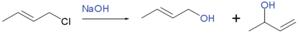 Allylic rearrangement - reaction of 1-chloro-2-butene with sodium hydroxide