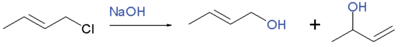 reaction of 1-chloro-2-butene with sodium hydroxide