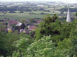 Part of Almondsbury from The Tump. The spire is Saint Mary the Virgin church.