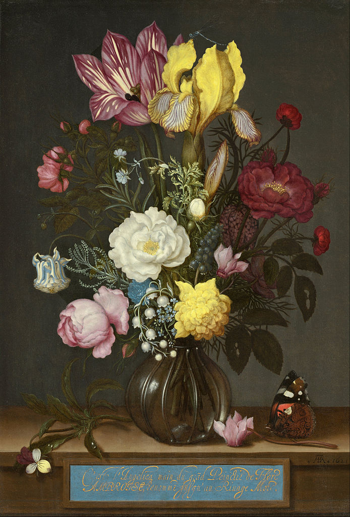 Flowers In A Glass Vase Painting