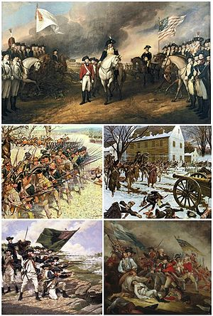 American Revolutionary War - Clockwise: Surrender of Lord Cornwallis after the Siege of Yorktown, Battle of Trenton, The Death of General Warren at the Battle of Bunker Hill, Battle of Long Island, Battle of Guilford Court House