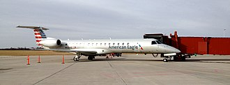 Envoy Air - An American Eagle Embraer ERJ-145 parked at Joplin Regional Airport, Missouri (2014).