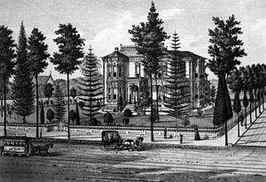Isaias W. Hellman - An 1887 lithograph of Hellman's Los Angeles home
