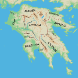 Ancient Arcadia in the center of Peloponnese