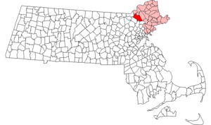 National Register of Historic Places listings in Andover, Massachusetts - Location of Andover in Massachusetts