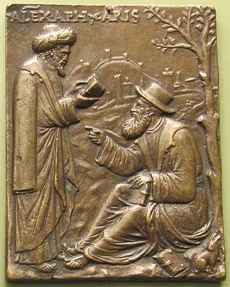 Alexander of Aphrodisias - Andrea Briosco, Aristotle and Alexander of Aphrodisias, 16th century plaquette, Bode-Museum