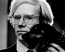 Andy Warhol, with Archie, by Jack Mitchell , 1973.